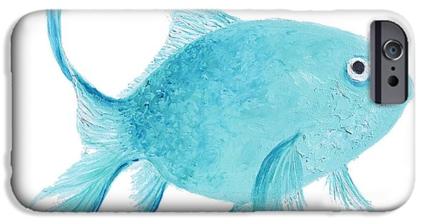 Bathroom Paintings iPhone Cases - Turquois Fish on white iPhone Case by Jan Matson
