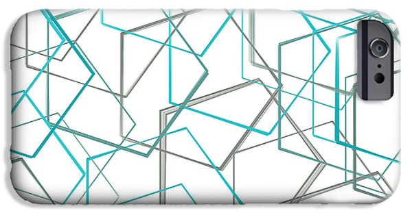 Blue Abstracts iPhone Cases - Turquoise And Gray iPhone Case by Lourry Legarde