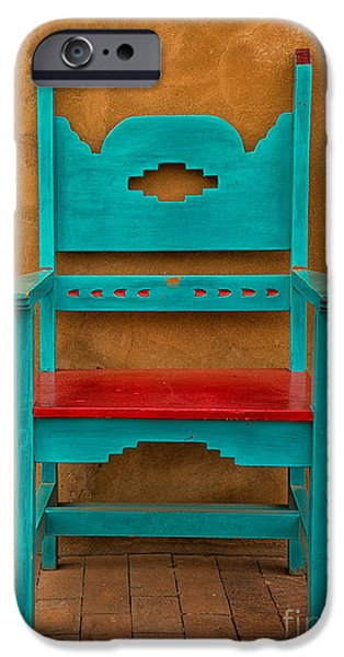 Furniture iPhone Cases - Turquoise and Red Chair iPhone Case by Jerry Fornarotto