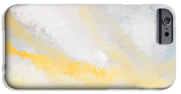 Surfer Art iPhone Cases - Turquoise And Yellow Art iPhone Case by Lourry Legarde