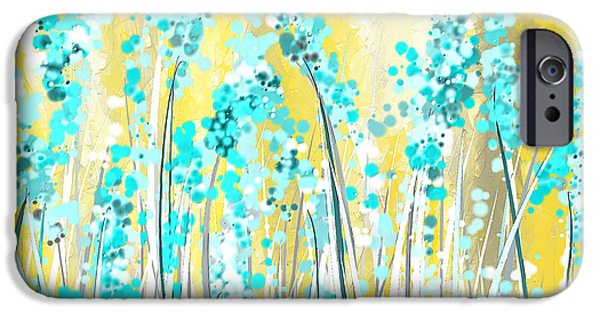 Brilliant Paintings iPhone Cases - Turquoise And Yellow iPhone Case by Lourry Legarde