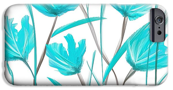 Blue Abstracts iPhone Cases - Turquoise Bloom iPhone Case by Lourry Legarde