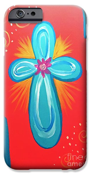 Religious iPhone Cases - Turquoise Cross iPhone Case by Jilian Cramb