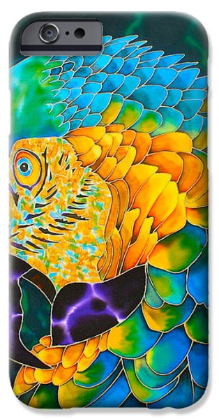 Birds Tapestries - Textiles iPhone Cases - Turquoise Gold Macaw  iPhone Case by Daniel Jean-Baptiste