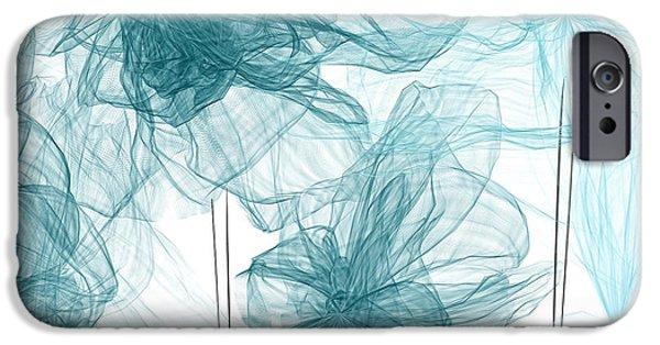 Light Blue Abstract iPhone Cases - Turquoise In Sync iPhone Case by Lourry Legarde