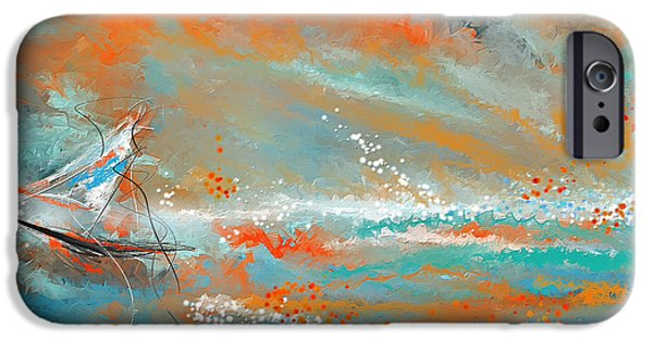 Terra Paintings iPhone Cases - Turquoise Sail - Orange and Turquoise Abstract Art iPhone Case by Lourry Legarde