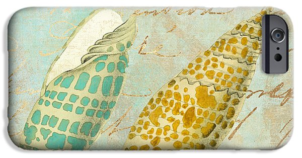 Dunes Paintings iPhone Cases - Turquoise Sea Shells iPhone Case by Mindy Sommers