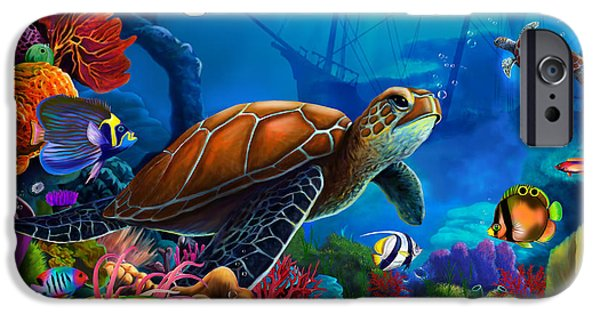Atlantis iPhone Cases - Turtle Domain iPhone Case by Gerald Newton