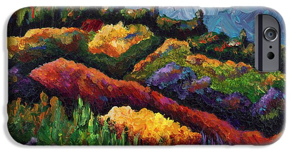 Tuscan Sunset Paintings iPhone Cases - Tuscan Hills at Sunset iPhone Case by Shawna Elliott