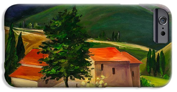 Culture Paintings iPhone Cases - Tuscan hills iPhone Case by Elise Palmigiani