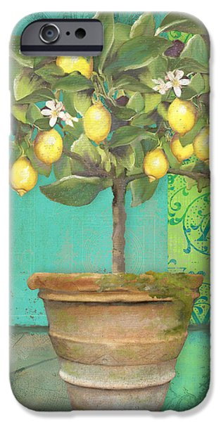 Farm Mixed Media iPhone Cases - Tuscan Lemon Topiary - Damask Pattern 1 iPhone Case by Audrey Jeanne Roberts