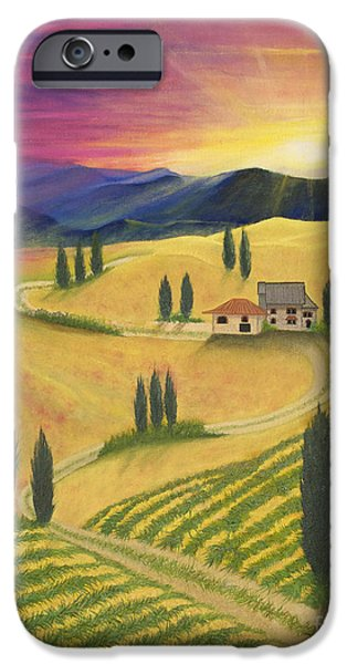Tuscan Sunset Paintings iPhone Cases - Tuscan Sunset B iPhone Case by Cindy Lee Longhini