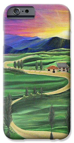 Tuscan Sunset Paintings iPhone Cases - Tuscan Sunset iPhone Case by Cindy Lee Longhini