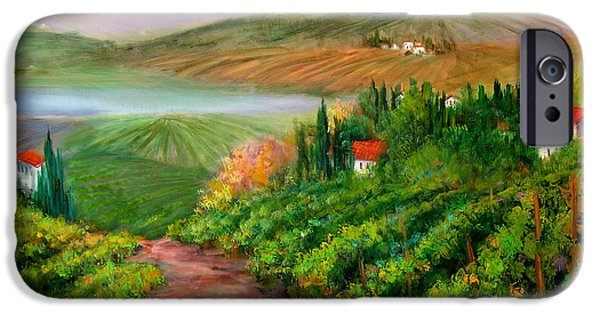 Italian Wine Paintings iPhone Cases - Tuscan Vista iPhone Case by Sally Seago