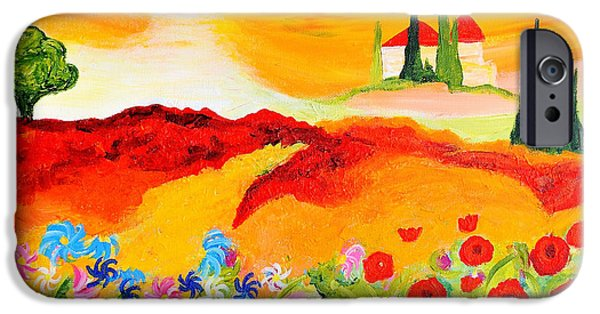 Tuscan Sunset Paintings iPhone Cases - Tuscan Wildflowers iPhone Case by Art by Danielle