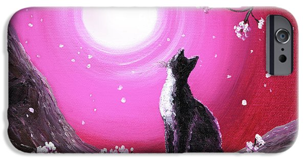 Cherry Blossoms iPhone Cases - Tuxedo Cat in Cherry Blossoms iPhone Case by Laura Iverson