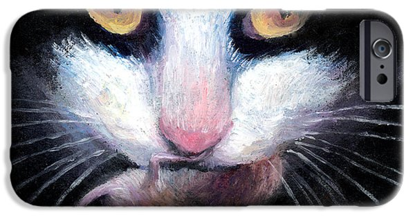 Cat Drawings iPhone Cases - Tuxedo cat with mouse iPhone Case by Svetlana Novikova