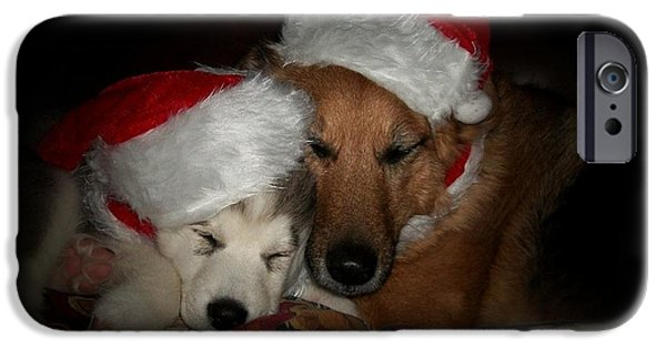 Dogs Digital Art iPhone Cases - Twas the Night before Christmas iPhone Case by Marjorie Imbeau