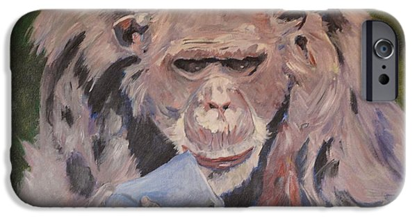 Twiggy Paintings iPhone Cases - Twiggy iPhone Case by Barbara Moak