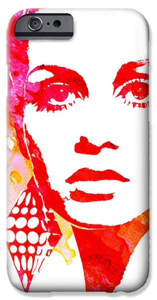 Twiggy Paintings iPhone Cases - Twiggy iPhone Case by Veronica Crockford