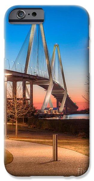 Patriots iPhone Cases - Twilight at Arthur Ravenel Bridge iPhone Case by Jerry Fornarotto