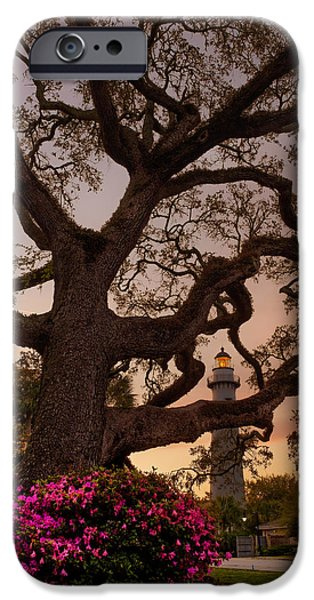 Glynn iPhone Cases - Twilight at St. Simons Lighthouse iPhone Case by Chris Bordeleau