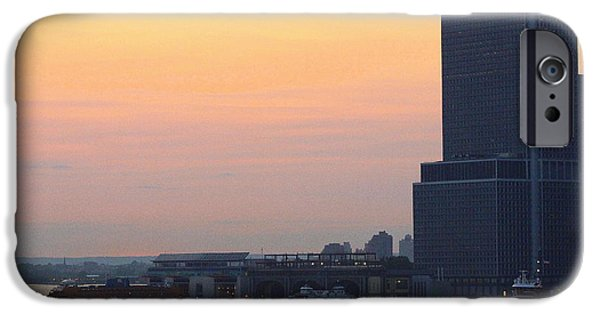 Empire State iPhone Cases -  The New York Harbor at Dusk iPhone Case by  Photographic Art and Design by Dora Sofia Caputo