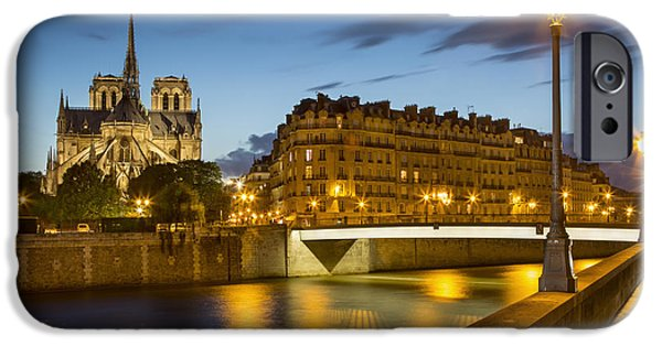 Night Lamp iPhone Cases - Twilight Behind Notre Dame iPhone Case by Brian Jannsen