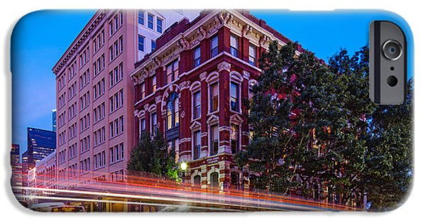Franklin iPhone Cases - Twilight Blue Hour Shot of the Cotton Exchange Building in Downtown Houston - Harris County Texas  iPhone Case by Silvio Ligutti