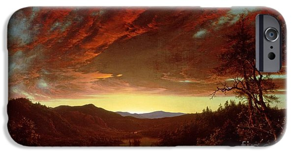 Setting Sun iPhone Cases - Twilight in the Wilderness iPhone Case by Frederic Edwin Church