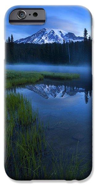 Mt Rainier iPhone Cases - Twilight Mist Rising iPhone Case by Mike  Dawson