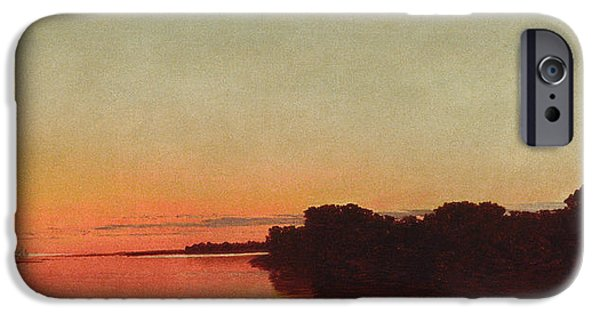 Kensett iPhone Cases - Twilight on the Sound. Darien Connecticut iPhone Case by John Frederick Kensett