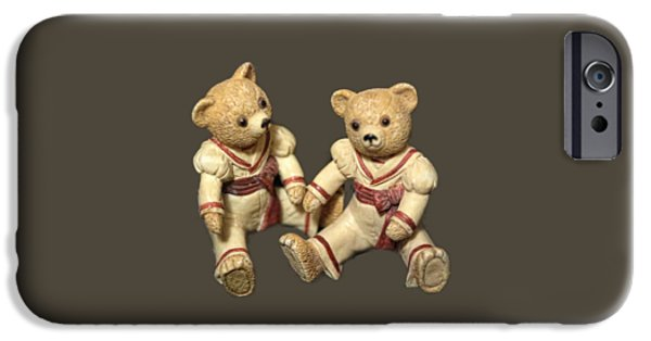 Figure iPhone Cases - Twin Hagara Bears iPhone Case by Linda Phelps
