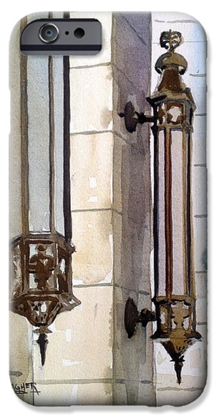 Wwi Paintings iPhone Cases - Twin Sconces iPhone Case by Spencer Meagher