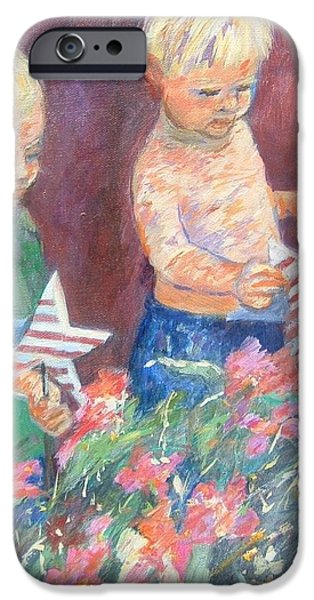 4th July Paintings iPhone Cases - Twins on 4th of July iPhone Case by Carole Weis