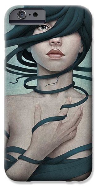 Girl iPhone Cases - Twisted iPhone Case by Diego Fernandez