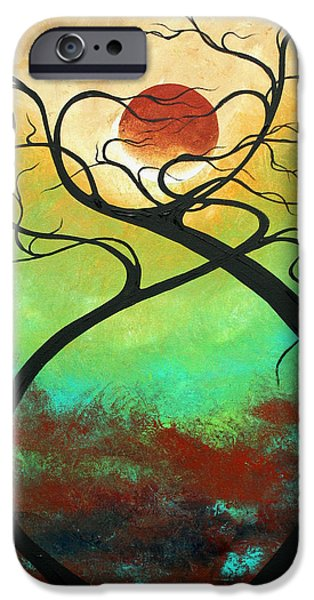 Turquoise iPhone Cases - Twisting Love II Original Painting by MADART iPhone Case by Megan Duncanson