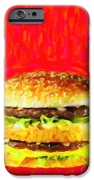 Wing Tong Digital iPhone Cases - Two All Beef Patties iPhone Case by Wingsdomain Art and Photography