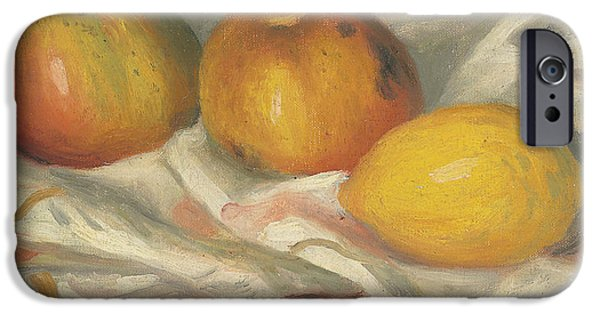 Renoir iPhone Cases - Two Apples and a Lemon iPhone Case by Pierre Auguste Renoir