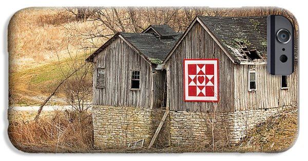 Old Barns iPhone Cases - Two Barns iPhone Case by Angela Morales