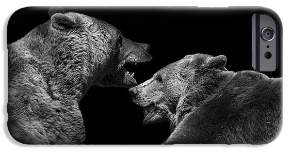 Animals Photographs iPhone Cases - Two Bears in black and white iPhone Case by Lukas Holas