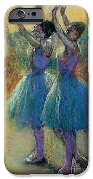Lady Pastels iPhone Cases - Two Blue Dancers iPhone Case by Edgar Degas