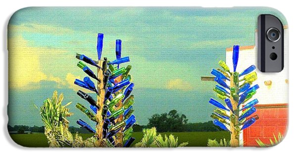 Wine Bottles iPhone Cases - Three Bottle Trees iPhone Case by Janette Boyd