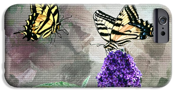 Floral Photographs iPhone Cases - Two Butterflies are Better than One iPhone Case by Diane Schuster