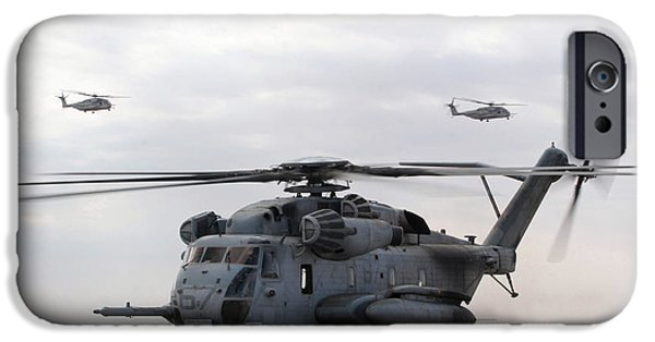 Iraq iPhone Cases - Two Ch-53e Super Stallion Helicopters iPhone Case by Stocktrek Images