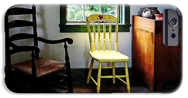 Ladder Back Chairs iPhone Cases - Two Chairs in Kitchen iPhone Case by Susan Savad