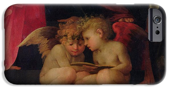 Cherub iPhone Cases - Two cherubs reading detail from Madonna and Child with Saints iPhone Case by Giovanni Battist Rosso Fiorentino