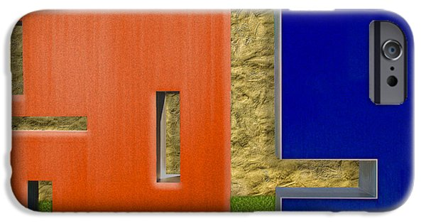 Blue Abstracts iPhone Cases - Two City Blocks iPhone Case by Paul Wear