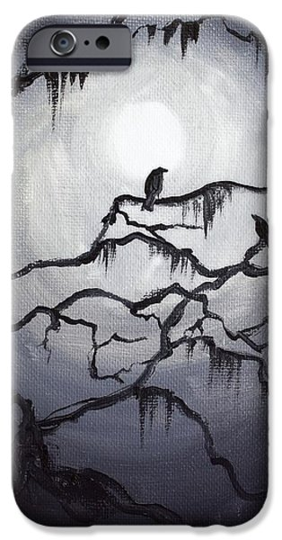 Strange iPhone Cases - Two Crows and Spanish Moss iPhone Case by Melissa Herrin