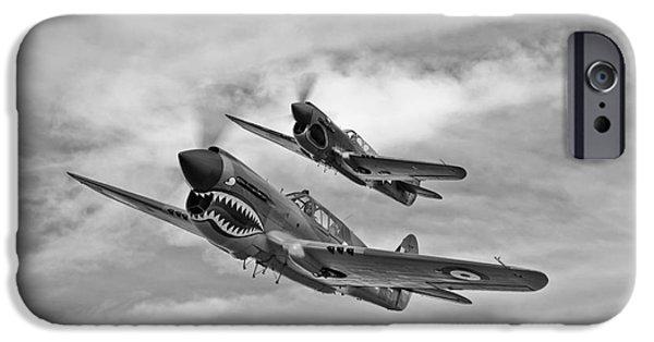 Warhawk iPhone Cases - Two Curtiss P-40 Warhawks In Flight iPhone Case by Scott Germain